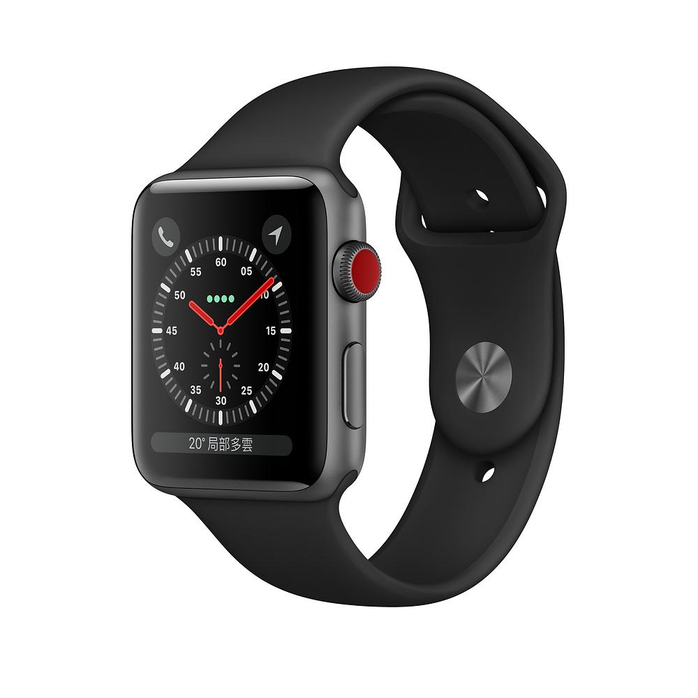 Apple Watch S3 LTE 42mm 太空灰色鋁金屬-黑色運動型錶帶